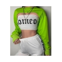 Cool Street Style Plain Long Sleeve Round Neck Asymmetric Hem Cropped Sweatshirt