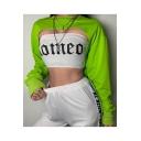Cool Street Style Plain Long Sleeve Round Neck Asymmetric Hem Cropped Sweatshirt
