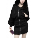 Hot Sale Gothic Black Bat Long Sleeve Cat Ears Embellished Zip Front Gather Waist Slim Fit Cardigan Hoodie
