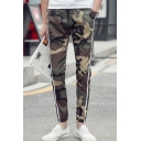 Men's Stylish Camouflage Printed Stripe Side Drawstring Waist Slim Cotton Pencil Pants