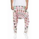 Unisex National Style Unique Printed Loose Fit Casual Baggy Drop-Crotch Harem Pants
