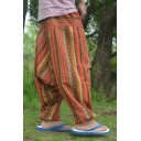 National Style Printed Baggy Drop-Crotch Linen Harem Pants for Men