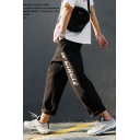 Men's New Fashion Letter W CIRCLE Printed Straight Cargo Pants