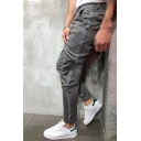 Men's Hot Fashion Contrast Stripe Side Grey Casual Slim Pencil Pants