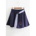 Stylish Womens Elastic Waist Belt Embellished Cat Embroidered Mini A-Line Skirt