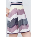 Chic Sweet Womens Colorblock Contrast Trim High Waist Midi A-Line Skirt