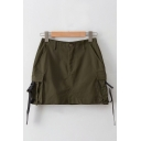 New Arrival High Waist Bucket Pocket Side Plain Cool Street Style Mini Cargo Skirt