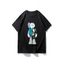 New Arrival Short Sleeve Round Neck Cartoon Printed Casual Loose Personality Mens T-Shirt