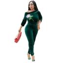 Elegant Green Long Sleeve Tie Waist Sequin Floral Patch Bodycon Velvet Jumpsuits