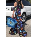 Chic Blak Butterfly Printed Off Shoulder Flare Sleeve Wide Leg Casual Loose Jumpsuits