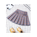 New Arrival Summer Sweet High Waist Lace Up Front Check Print Pleated A-Line Mini Skirt with Lining