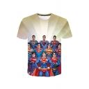 Mens Hot Sale Short Sleeve Round Neck Printed T Shirt