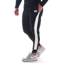 Men's New Fashion Logo Printed Colorblock Patched Side Knitted Sweatpants Fitness Pencil Pants