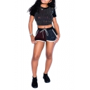 Womens Fashion Sparkly Hot Drilling Short Sleeve Cropped Tee with Casual Shorts Two-Piece Set