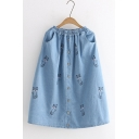 Blue Cat Embroidered Elastic Waist Casual Loose Midi Denim Skirt with Pocket