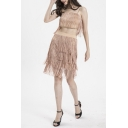 Fashion Strap Sleeveless with Elastic Waist Midi Skirt Apricot Fringe Trim Two Piece Set