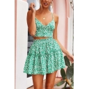 Summer Stylish Straps Sleeveless Cropped Top with High Waist Flared Hem Mini A-Line Skirt Floral Printed Two Piece Set
