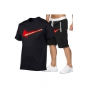 Mens Cool Blood Logo Printed Casual T-Shirt Loose Shorts Sport Two-Piece Set