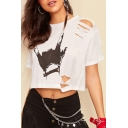 Summer White Short Sleeve Cutout Hand Printed Cropped Tee