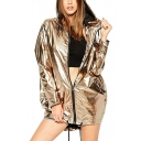 Womens Cool Unique Metallic Color Long Sleeve Waterproof Hooded Zip Up Coat