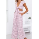 Womens Fancy Pink Plaid Printed Knotted Crop Top with Wide-Leg Pants Two-Piece Set