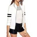 Womens New Trendy Simple Stripe Long Sleeve Zip Up Slim Fit Jacket