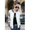 Womens Chic Floral Printed Rib Stand Collar Zip Up Slim Fit Baseball Jacket