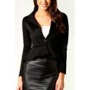 Womens Trendy Solid Color Notched Lapel Collar Single Button Dipped Ruffled Hem Slim Blazer Jacket