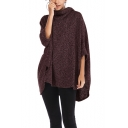 Womens Fashion Cowl Neck Batwing Sleeve Poncho Sweater