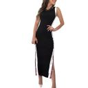Stylish Black Sleeveless Split Side Maxi Bodycon Dress