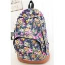 Popular Floral Printed Canvas School Bag Backpack Bookbag