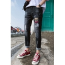 New Stylish Cartoon Cat Letter Embroidered Men's Black Slim Fit Ripped Jeans