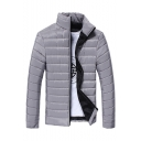 Men's Classic Simple Plain Zip Closure Long Sleeve Stand Collared Padded Coat