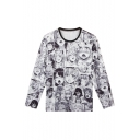 Summer New Stylish Ahegao Comic Pattern Round Neck Long Sleeve Black And White T-Shirt