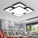 2 Tiers Square Ceiling Lamp Nordic Concise Metal LED Flush Light Fixture in Black for Restaurant