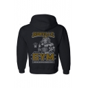Cool Lion Letter GYM Printed Long Sleeve Black Sports Hoodie