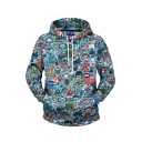 New Stylish Cartoon All-over Printed Long Sleeve Blue Casual Loose Drawstring Hoodie