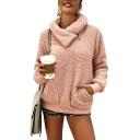 Womens Hot Fashion Plain Zipper Turn-Down Collar Fluffy Fleece Teddy Sweatshirt