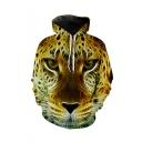 Cool Fashion Tiger Printed Long Sleeve Loose Fit Casual Drawstring Hoodie