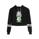 Fashion Alien Letter I Don't Believe in Human Stripe Long Sleeve Crop Hoodie