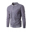 Mens New Stylish Simple Plain Long Sleeve Stand Collar Button Down Coat Jacket With Pockets