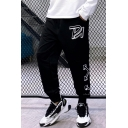 Trendy Letter Arrow Logo Printed Loose Fit Casual Sports Mens Black Track Pants