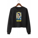 Round Neck Long Sleeve Saint Mia Figure Print Cropped Pullover Sweatshirt