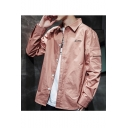 Guys New Fashion Letter Pattern Lapel Collar Long Sleeve Single Breasted Work Jacket With Pockets