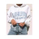 New Stylish White LONDON CHAMPION Letter Printed Long Sleeve Cropped Drawstring Hoodie