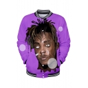 New Stylish 3D Figure Printed Rib Stand Collar Long Sleeve Button Down Purple Baseball Jacket