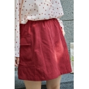 Simple Side Pockets Solid Color Mini Cargo A-Line Skirt