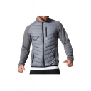 Men's Trendy Simple Plain Zip Closure Long Sleeve Stand Collared Casual Padded Coat