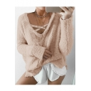 New Fashion V-Neck Long Sleeve Plain Mohair Fluffy Teddy Sweatshirt