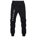 New Trendy Friends Letter Printed Drawstring Waist Casual Sport Sweatpants Jogger Pants